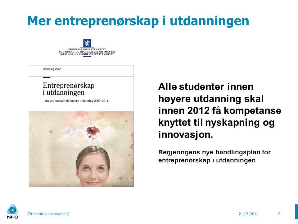Mer entreprenørskap i utdanningen 21.06.2014[Presentasjonsheading]8 Alle studenter innen høyere utdanning skal innen 2012 få kompetanse knyttet til nyskapning og innovasjon.