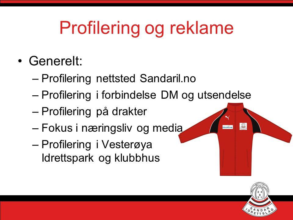 Profilering og reklame •Generelt: –Profilering nettsted Sandaril.no –Profilering i forbindelse DM og utsendelse –Profilering på drakter –Fokus i nærin