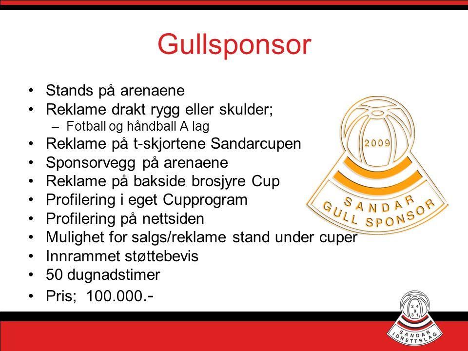 Gullsponsor •Stands på arenaene •Reklame drakt rygg eller skulder; –Fotball og håndball A lag •Reklame på t-skjortene Sandarcupen •Sponsorvegg på aren