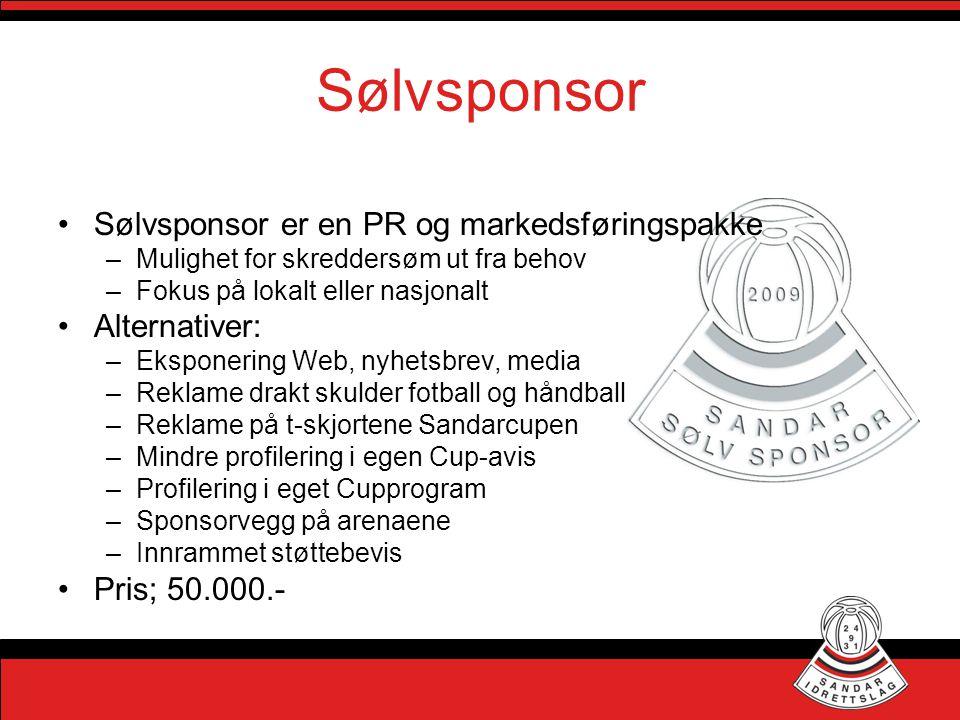 Sølvsponsor •Sølvsponsor er en PR og markedsføringspakke –Mulighet for skreddersøm ut fra behov –Fokus på lokalt eller nasjonalt •Alternativer: –Ekspo