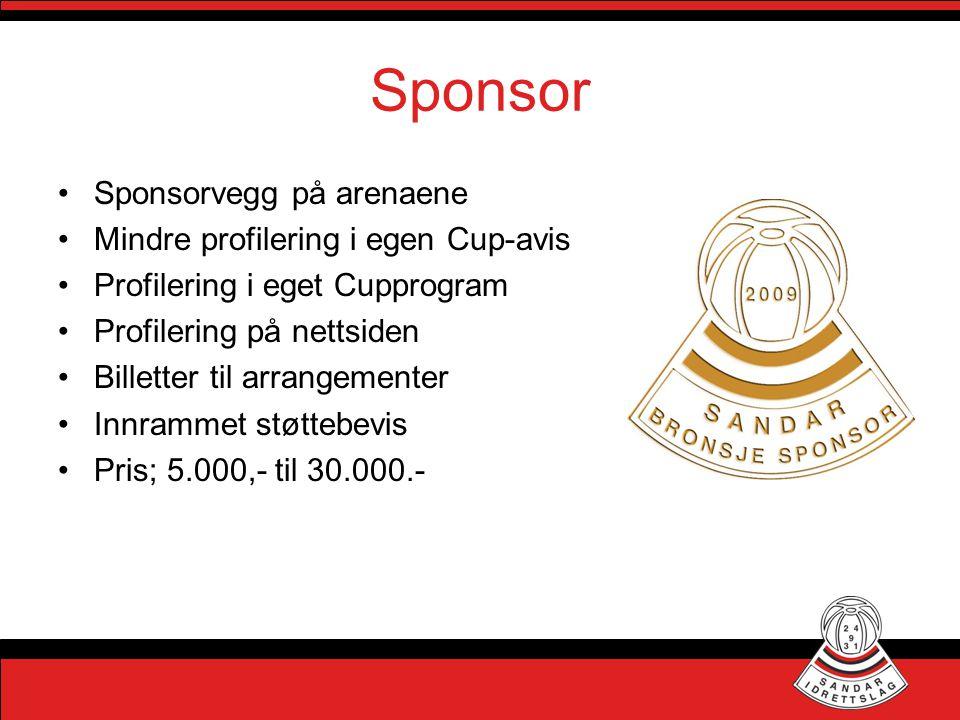 Sponsor •Sponsorvegg på arenaene •Mindre profilering i egen Cup-avis •Profilering i eget Cupprogram •Profilering på nettsiden •Billetter til arrangeme