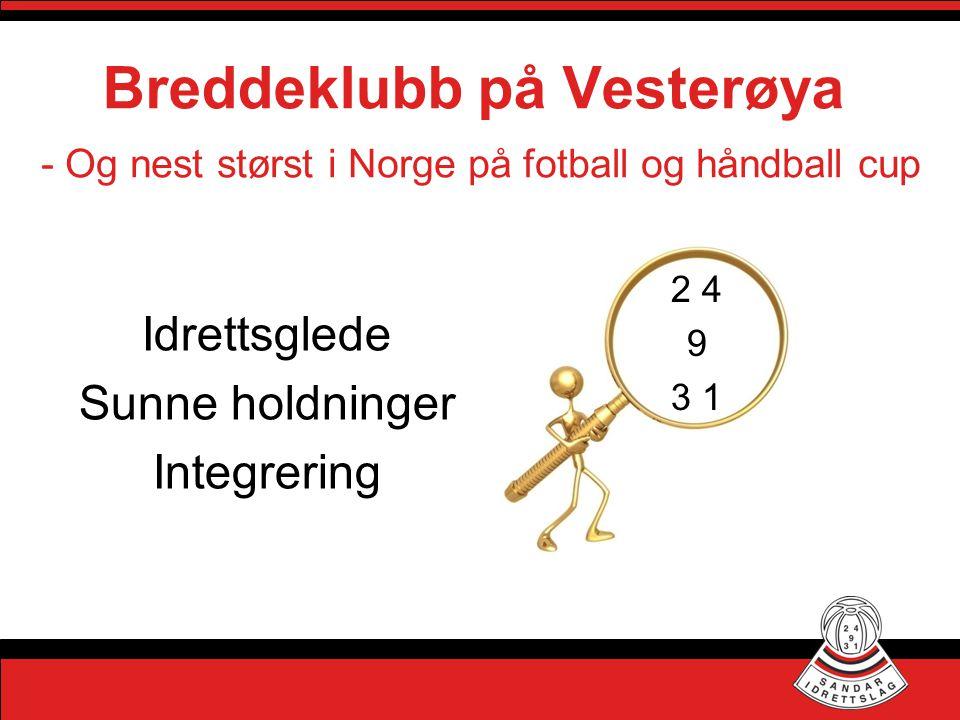 Breddeklubb på Vesterøya 2 4 9 3 1 Idrettsglede Sunne holdninger Integrering - Og nest størst i Norge på fotball og håndball cup