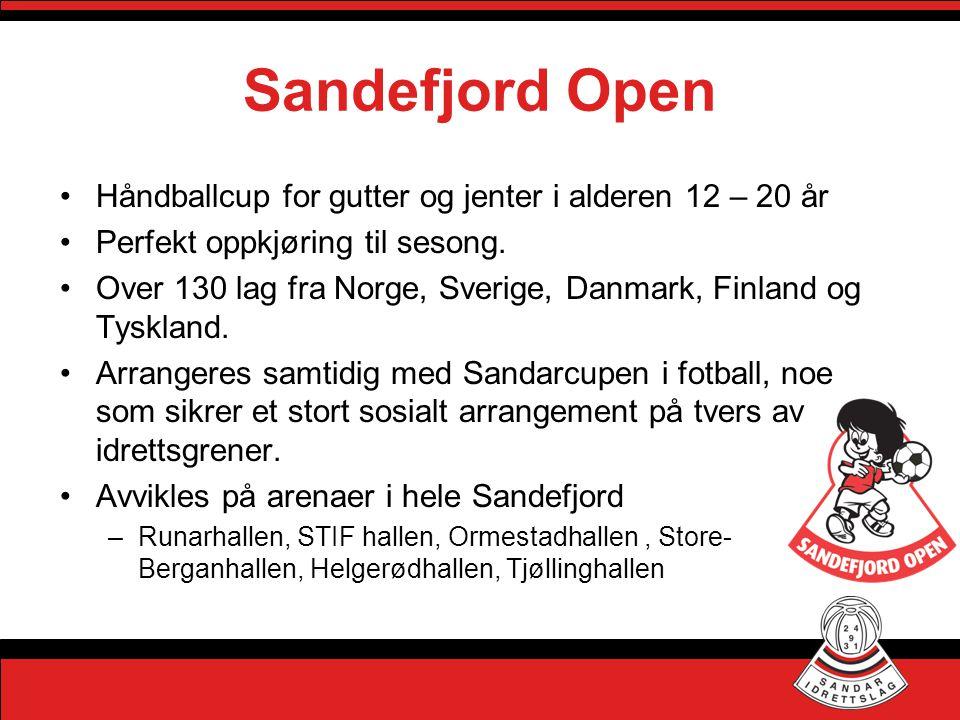Sandefjord Open •Håndballcup for gutter og jenter i alderen 12 – 20 år •Perfekt oppkjøring til sesong. •Over 130 lag fra Norge, Sverige, Danmark, Finl