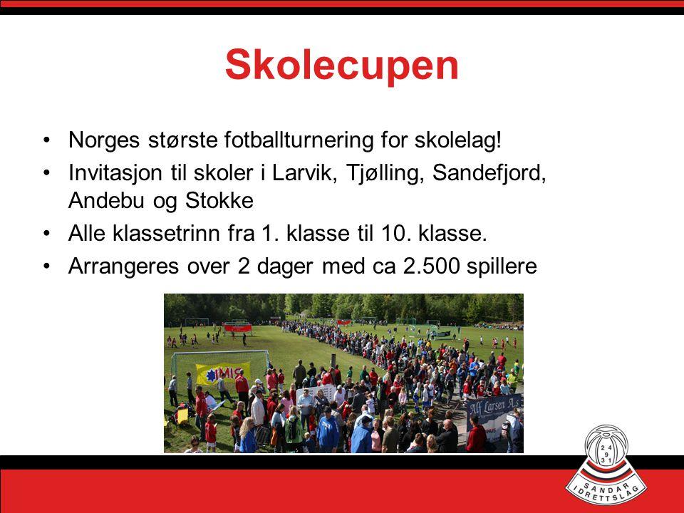 Skolecupen •Norges største fotballturnering for skolelag! •Invitasjon til skoler i Larvik, Tjølling, Sandefjord, Andebu og Stokke •Alle klassetrinn fr