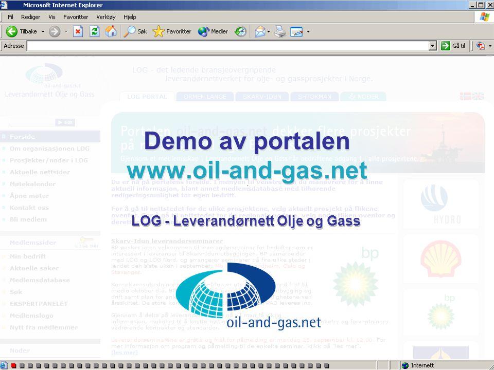 Demo av portalen www.oil-and-gas.net LOG - Leverandørnett Olje og Gass