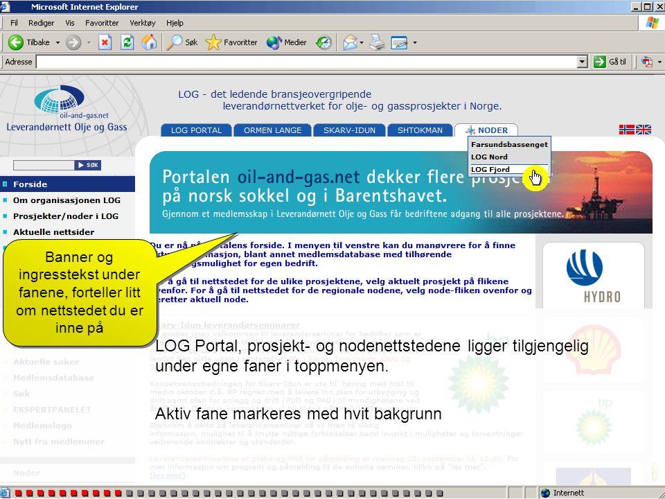 LOG Portal, prosjekt- og nodenettstedene ligger tilgjengelig under egne faner i toppmenyen. Aktiv fane markeres med hvit bakgrunn Banner og ingresstek