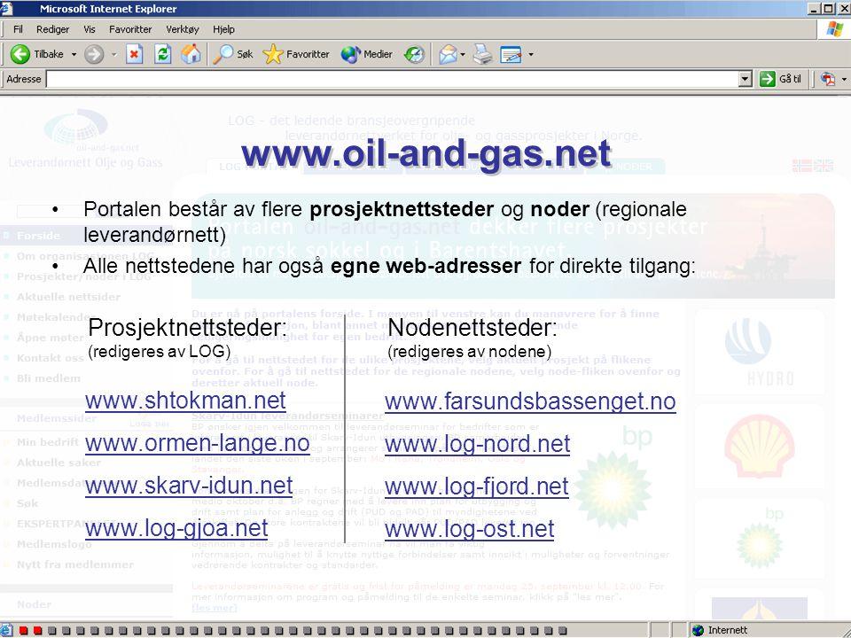 www.oil-and-gas.net •Portalen består av flere prosjektnettsteder og noder (regionale leverandørnett) •Alle nettstedene har også egne web-adresser for direkte tilgang: www.shtokman.net www.ormen-lange.no www.skarv-idun.net www.log-gjoa.net www.farsundsbassenget.no www.log-nord.net www.log-fjord.net www.log-ost.net Prosjektnettsteder: (redigeres av LOG) Nodenettsteder: (redigeres av nodene)