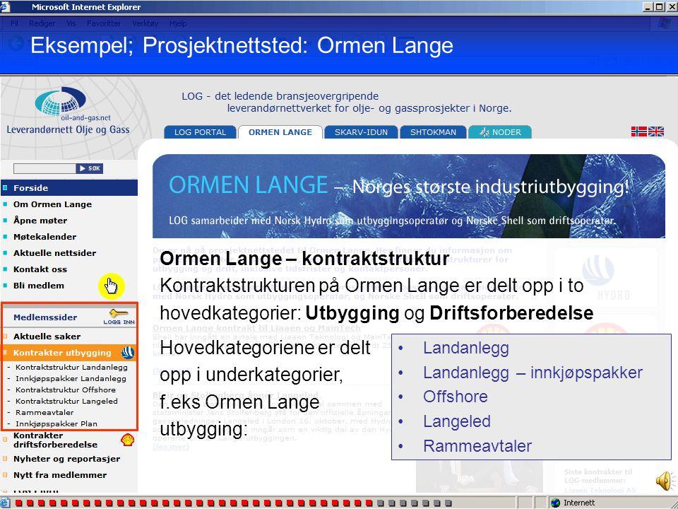 Ormen Lange – åpen del Her finner du: • Løpende nyheter vedrørende prosjektet • Generell prosjektinformasjon • Aktuelle møter og nettsteder relatert t