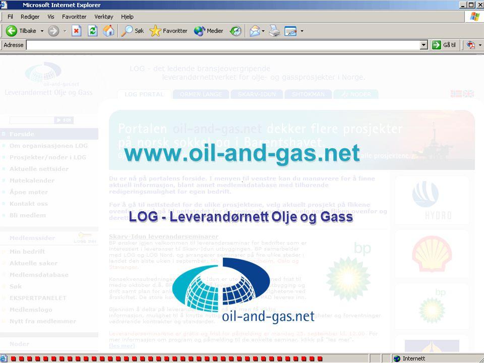 De enkelte nodene i LOG •Selvstendige interesseorganisasjoner som LOG samarbeider med •Driver leverandørutvikling og kompetanseprosjekter lokalt/regio