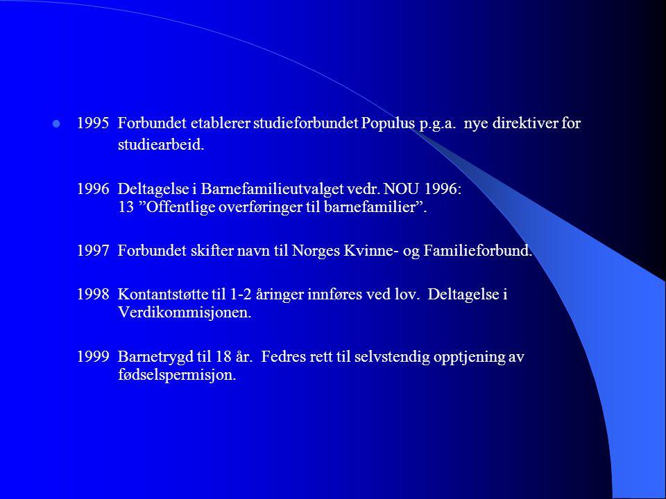 """ 1995Forbundet etablerer studieforbundet Populus p.g.a. nye direktiver for studiearbeid. 1996Deltagelse i Barnefamilieutvalget vedr. NOU 1996: 13 """"Of"""