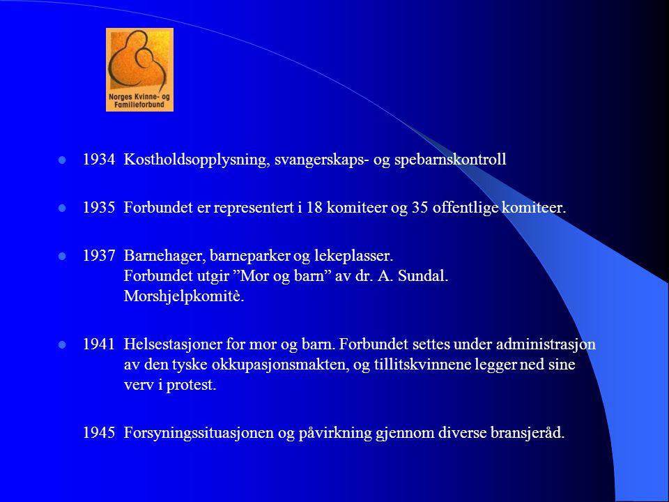  1934Kostholdsopplysning, svangerskaps- og spebarnskontroll  1935Forbundet er representert i 18 komiteer og 35 offentlige komiteer.  1937Barnehager