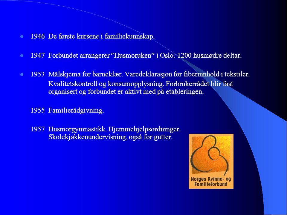 """ 1946De første kursene i familiekunnskap.  1947Forbundet arrangerer """"Husmoruken"""" i Oslo. 1200 husmødre deltar.  1953Målskjema for barneklær. Varede"""