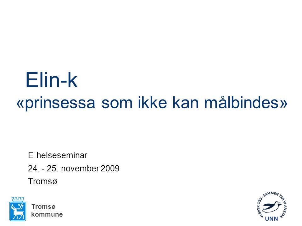Elin-k «prinsessa som ikke kan målbindes» E-helseseminar 24. - 25. november 2009 Tromsø kommune