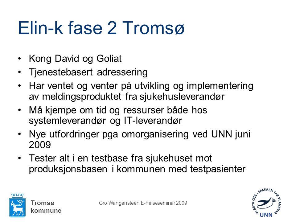 Tromsø kommune Gro Wangensteen E-helseseminar 2009 Elin-k fase 2 Tromsø •Kong David og Goliat •Tjenestebasert adressering •Har ventet og venter på utv