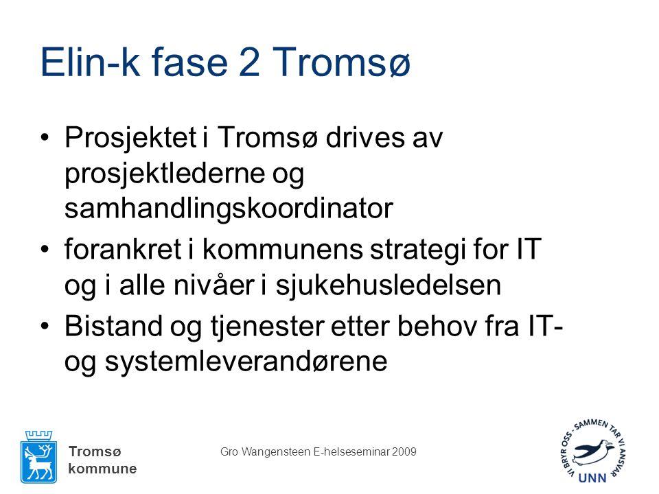 Tromsø kommune Gro Wangensteen E-helseseminar 2009 Elin-k fase 2 Tromsø •Prosjektet i Tromsø drives av prosjektlederne og samhandlingskoordinator •forankret i kommunens strategi for IT og i alle nivåer i sjukehusledelsen •Bistand og tjenester etter behov fra IT- og systemleverandørene