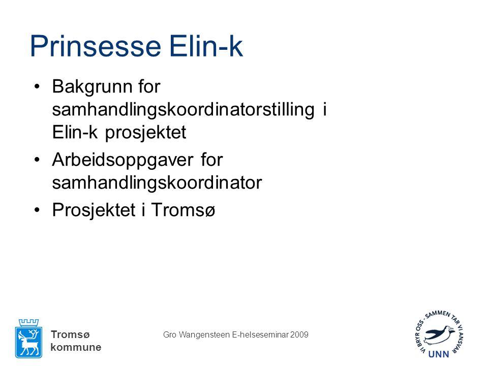 Tromsø kommune Gro Wangensteen E-helseseminar 2009 Prinsesse Elin-k •Bakgrunn for samhandlingskoordinatorstilling i Elin-k prosjektet •Arbeidsoppgaver for samhandlingskoordinator •Prosjektet i Tromsø