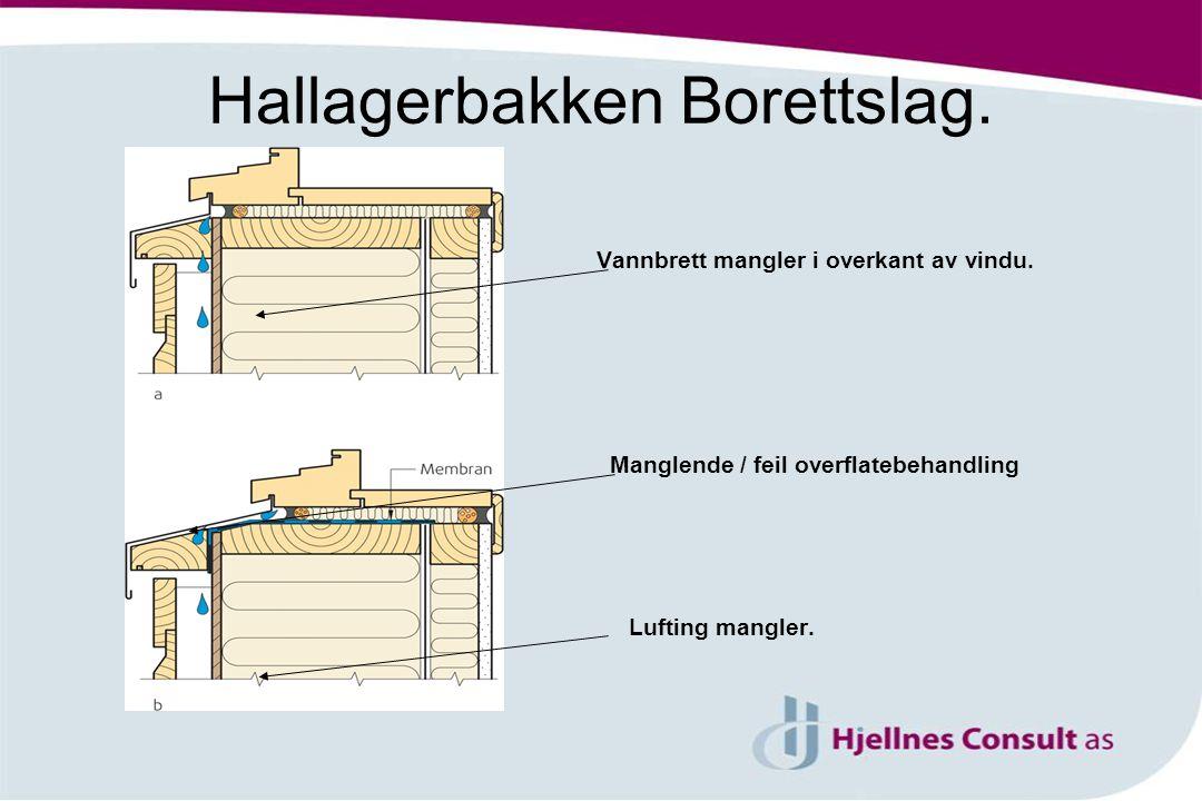 Hallagerbakken Borettslag. Vannbrett mangler i overkant av vindu. Manglende / feil overflatebehandling Lufting mangler.