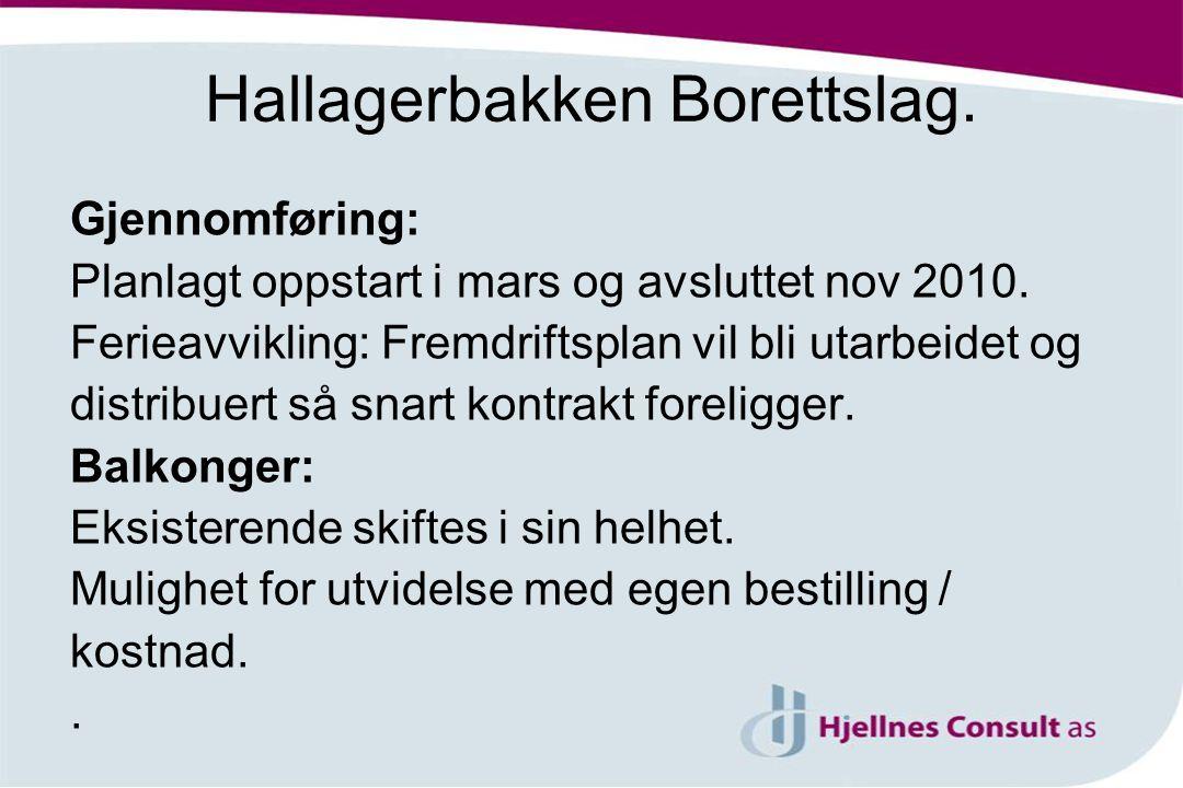 Hallagerbakken Borettslag.Gjennomføring: Planlagt oppstart i mars og avsluttet nov 2010.