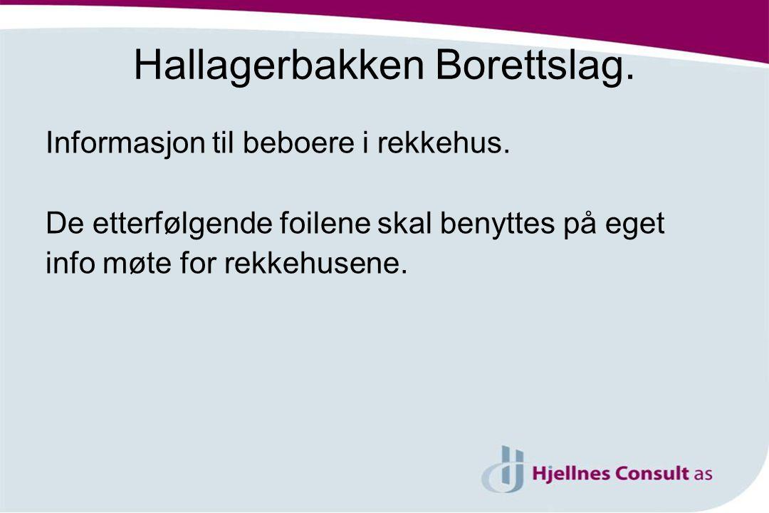 Hallagerbakken Borettslag. Informasjon til beboere i rekkehus. De etterfølgende foilene skal benyttes på eget info møte for rekkehusene.