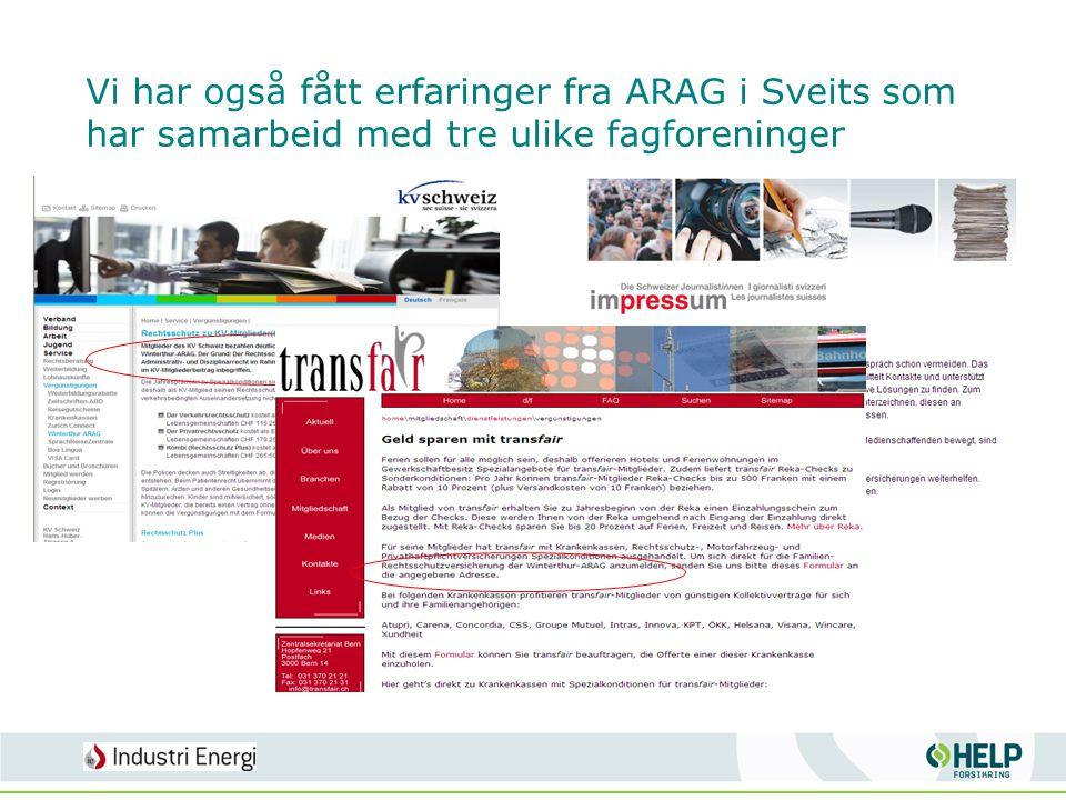 Vi har også fått erfaringer fra ARAG i Sveits som har samarbeid med tre ulike fagforeninger