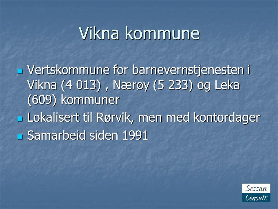 Vikna kommune  Vertskommune for barnevernstjenesten i Vikna (4 013), Nærøy (5 233) og Leka (609) kommuner  Lokalisert til Rørvik, men med kontordager  Samarbeid siden 1991