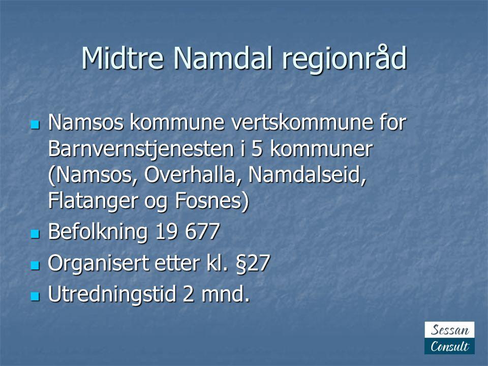 Midtre Namdal regionråd  Namsos kommune vertskommune for Barnvernstjenesten i 5 kommuner (Namsos, Overhalla, Namdalseid, Flatanger og Fosnes)  Befolkning 19 677  Organisert etter kl.