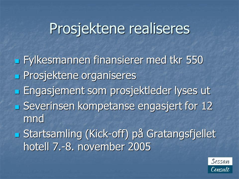 Prosjektene realiseres  Fylkesmannen finansierer med tkr 550  Prosjektene organiseres  Engasjement som prosjektleder lyses ut  Severinsen kompetanse engasjert for 12 mnd  Startsamling (Kick-off) på Gratangsfjellet hotell 7.-8.