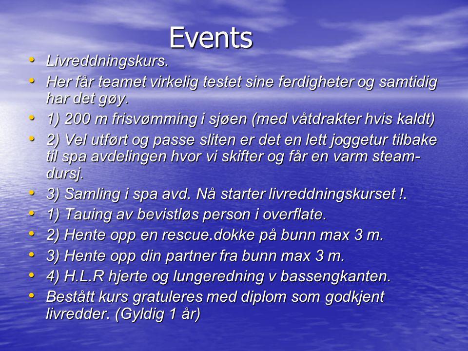 Events • Livreddningskurs. • Her får teamet virkelig testet sine ferdigheter og samtidig har det gøy. • 1) 200 m frisvømming i sjøen (med våtdrakter h