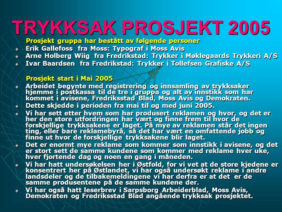 TRYKKSAK PROSJEKT 2005 Prosjekt gruppa har bestått av følgende personer Prosjekt gruppa har bestått av følgende personer  Erik Gallefoss fra Moss: Ty