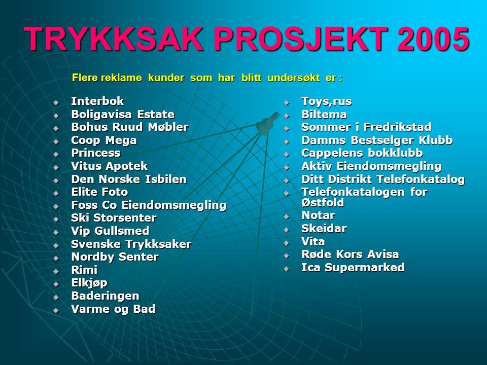 TRYKKSAK PROSJEKT 2005 Store reklameaktører i Skandinavia som lager reklame trykksaker for Norge.