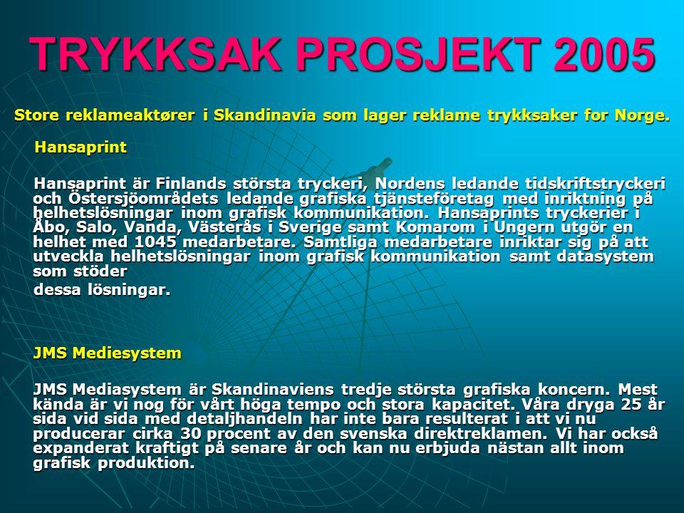 TRYKKSAK PROSJEKT 2005 Store reklameaktører i Skandinavia som lager reklame trykksaker for Norge. Hansaprint Hansaprint är Finlands största tryckeri,
