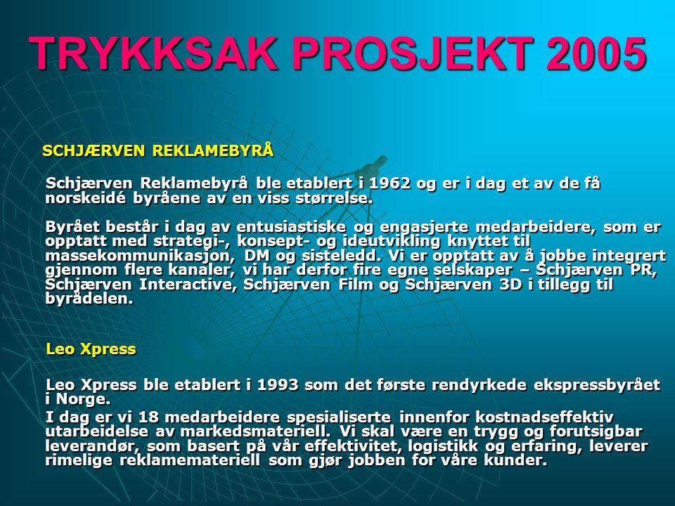 TRYKKSAK PROSJEKT 2005 SCHJÆRVEN REKLAMEBYRÅ Schjærven Reklamebyrå ble etablert i 1962 og er i dag et av de få norskeidé byråene av en viss størrelse.