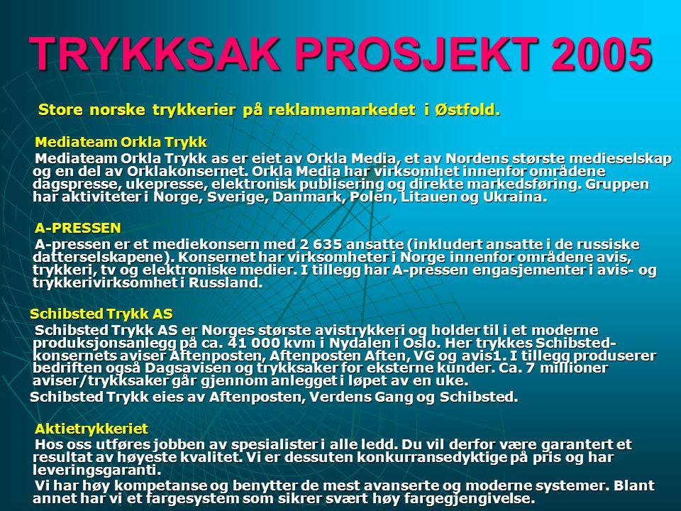 TRYKKSAK PROSJEKT 2005 Store norske trykkerier på reklamemarkedet i Østfold. Mediateam Orkla Trykk Mediateam Orkla Trykk as er eiet av Orkla Media, et
