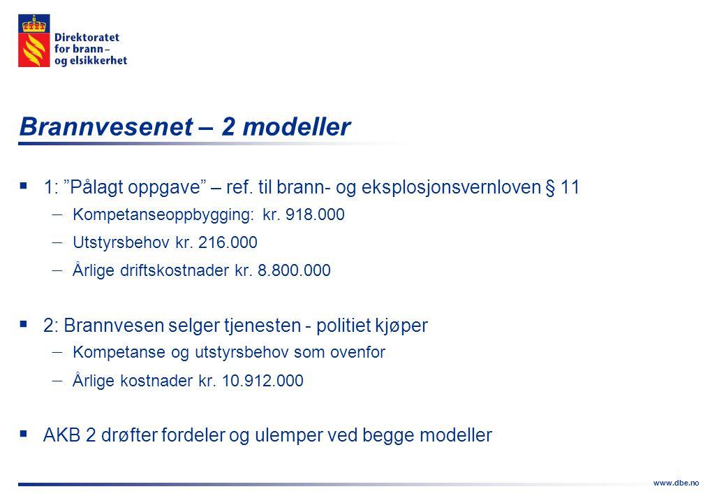 """www.dbe.no Brannvesenet – 2 modeller  1: """"Pålagt oppgave"""" – ref. til brann- og eksplosjonsvernloven § 11  Kompetanseoppbygging: kr. 918.000  Utstyr"""