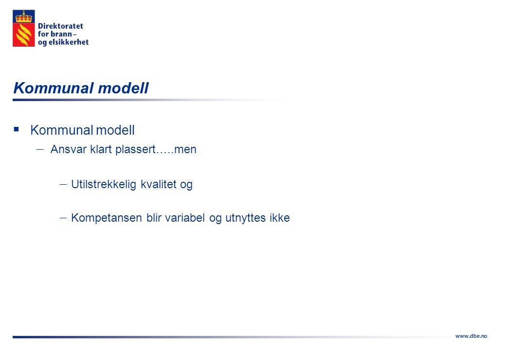 www.dbe.no Kommunal modell  Kommunal modell  Ansvar klart plassert…..men  Utilstrekkelig kvalitet og  Kompetansen blir variabel og utnyttes ikke