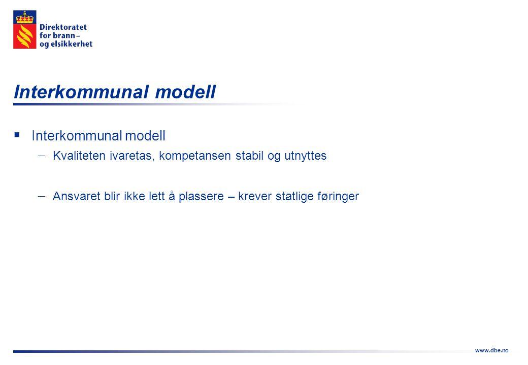 www.dbe.no Interkommunal modell  Interkommunal modell  Kvaliteten ivaretas, kompetansen stabil og utnyttes  Ansvaret blir ikke lett å plassere – kr
