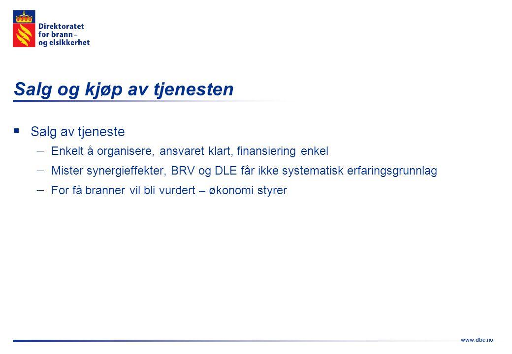 www.dbe.no Salg og kjøp av tjenesten  Salg av tjeneste  Enkelt å organisere, ansvaret klart, finansiering enkel  Mister synergieffekter, BRV og DLE