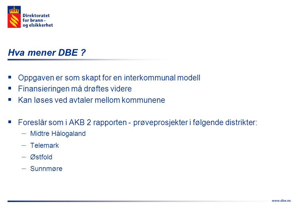 www.dbe.no Hva mener DBE ?  Oppgaven er som skapt for en interkommunal modell  Finansieringen må drøftes videre  Kan løses ved avtaler mellom kommu
