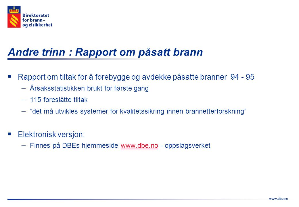 www.dbe.no  Rapport om tiltak for å forebygge og avdekke påsatte branner 94 - 95  Årsaksstatistikken brukt for første gang  115 foreslåtte tiltak 