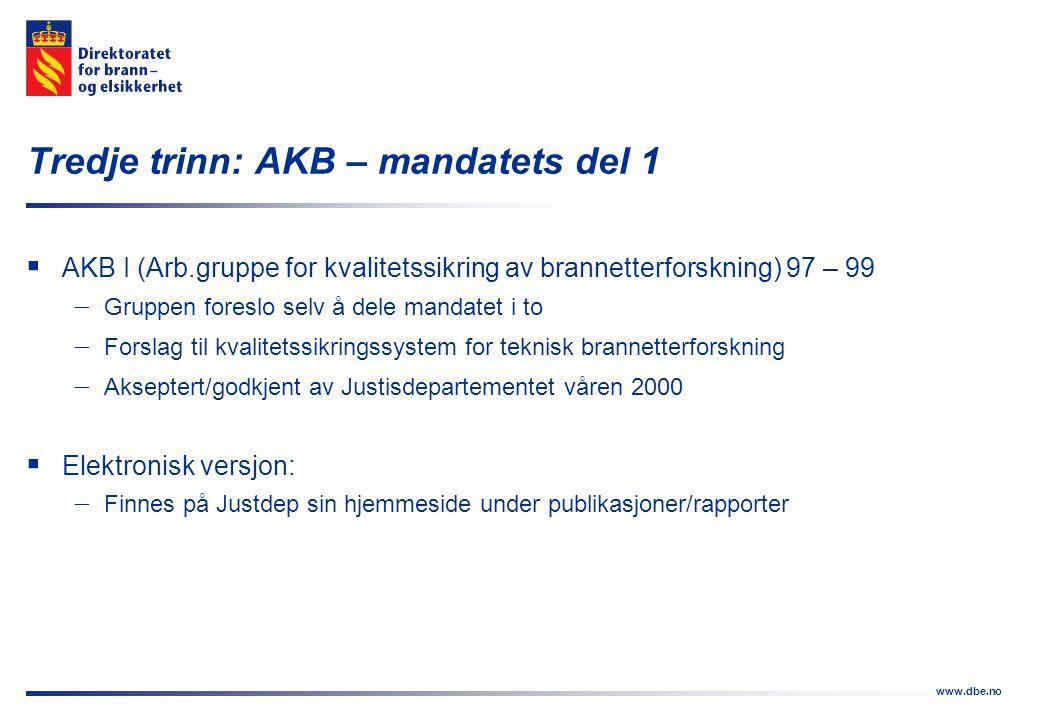 www.dbe.no Fjerde trinn: AKB – mandatets del 2  AKB II 00 – 02  Forslag om distriktsvise brannetterforskningsgrupper  Regionalisert modell  Politidistriktsgrensene er bestemmende  Forpliktende samarbeid mellom:  Politi  Det lokale eltilsyn  Kommunalt brannvesen  Behov i ca.