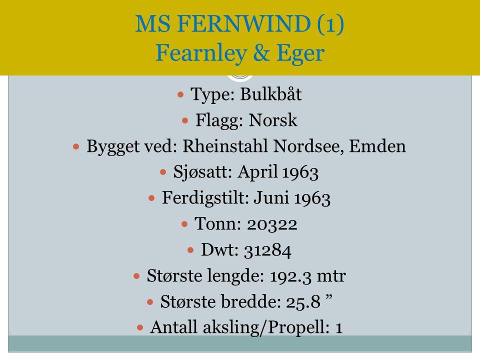  Type: Bulkbåt  Flagg: Norsk  Bygget ved: Rheinstahl Nordsee, Emden  Sjøsatt: April 1963  Ferdigstilt: Juni 1963  Tonn: 20322  Dwt: 31284  Stø