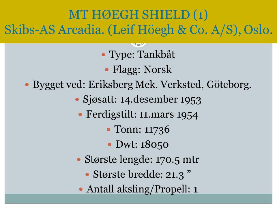  Type: Tankbåt  Flagg: Norsk  Bygget ved: Eriksberg Mek. Verksted, Göteborg.  Sjøsatt: 14.desember 1953  Ferdigstilt: 11.mars 1954  Tonn: 11736