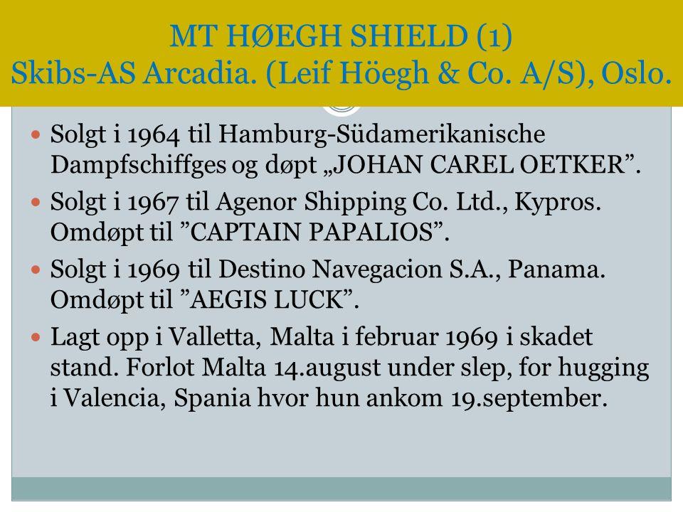 """ Solgt i 1964 til Hamburg-Südamerikanische Dampfschiffges og døpt """"JOHAN CAREL OETKER"""".  Solgt i 1967 til Agenor Shipping Co. Ltd., Kypros. Omdøpt t"""