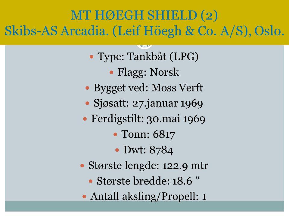  Type: Tankbåt (LPG)  Flagg: Norsk  Bygget ved: Moss Verft  Sjøsatt: 27.januar 1969  Ferdigstilt: 30.mai 1969  Tonn: 6817  Dwt: 8784  Største