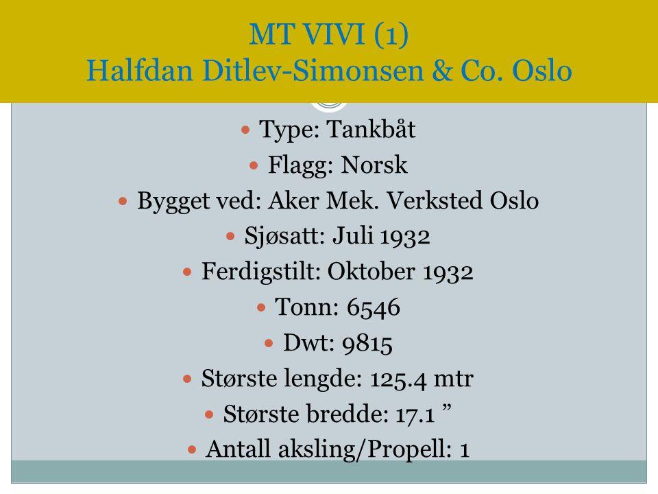  Type: Tankbåt  Flagg: Norsk  Bygget ved: Aker Mek. Verksted Oslo  Sjøsatt: Juli 1932  Ferdigstilt: Oktober 1932  Tonn: 6546  Dwt: 9815  Størs