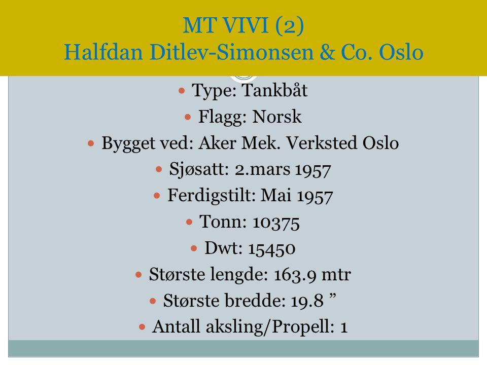  Type: Tankbåt  Flagg: Norsk  Bygget ved: Aker Mek. Verksted Oslo  Sjøsatt: 2.mars 1957  Ferdigstilt: Mai 1957  Tonn: 10375  Dwt: 15450  Størs