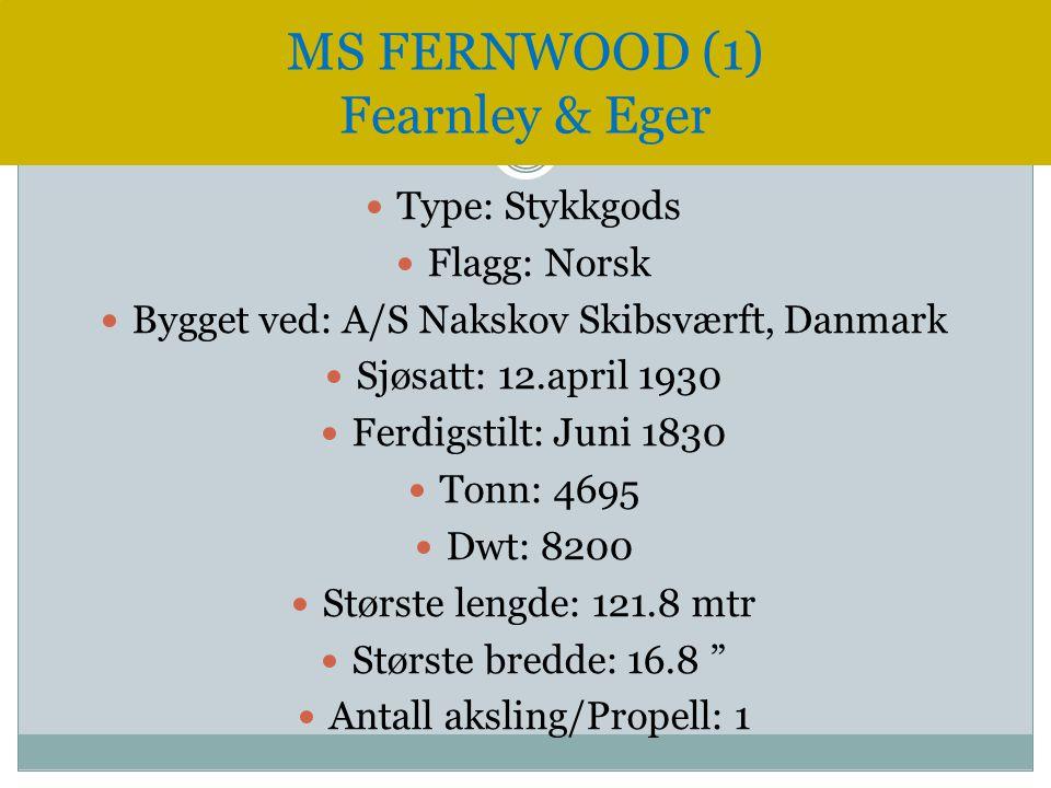  Type: Stykkgods  Flagg: Norsk  Bygget ved: A/S Nakskov Skibsværft, Danmark  Sjøsatt: 12.april 1930  Ferdigstilt: Juni 1830  Tonn: 4695  Dwt: 8