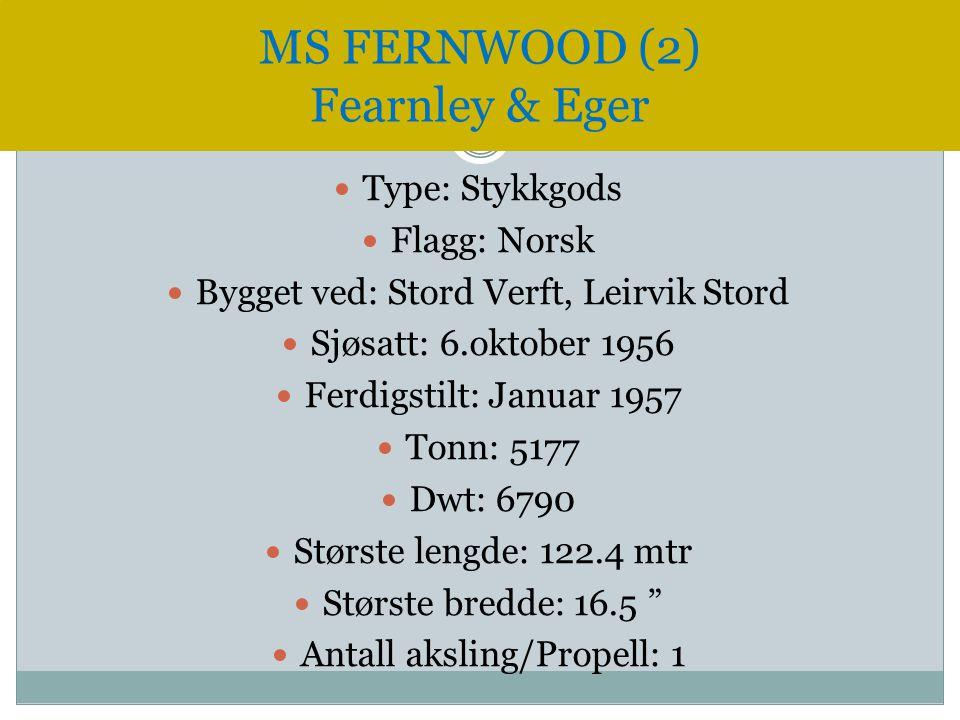  Type: Stykkgods  Flagg: Norsk  Bygget ved: Stord Verft, Leirvik Stord  Sjøsatt: 6.oktober 1956  Ferdigstilt: Januar 1957  Tonn: 5177  Dwt: 679