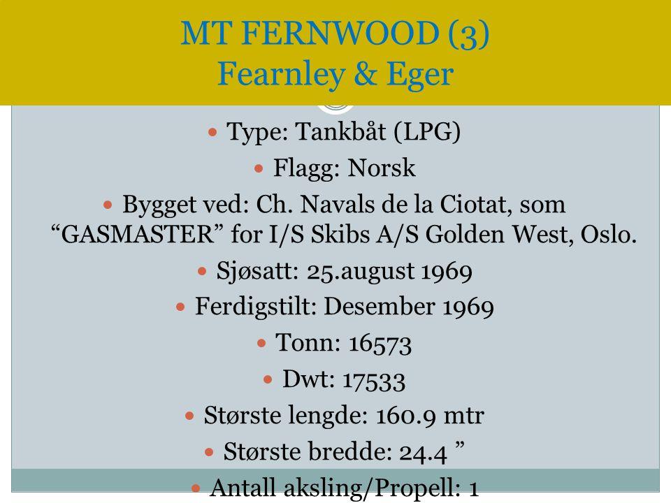 " Type: Tankbåt (LPG)  Flagg: Norsk  Bygget ved: Ch. Navals de la Ciotat, som ""GASMASTER"" for I/S Skibs A/S Golden West, Oslo.  Sjøsatt: 25.august"
