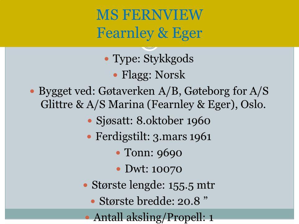 Type: Stykkgods  Flagg: Norsk  Bygget ved: Gøtaverken A/B, Gøteborg for A/S Glittre & A/S Marina (Fearnley & Eger), Oslo.  Sjøsatt: 8.oktober 196